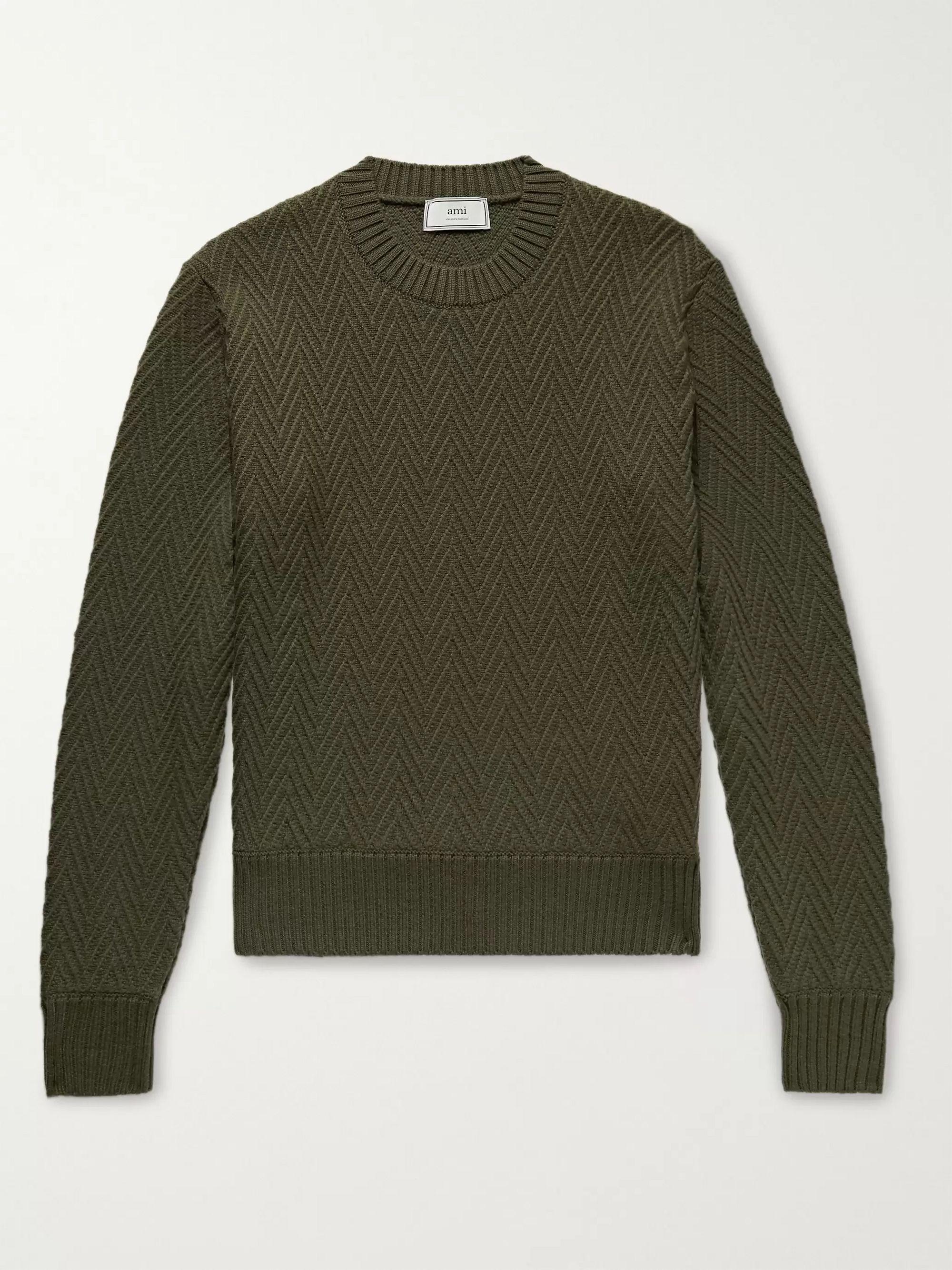 AMI Green Slim-Fit Herringbone Wool Sweater,Green