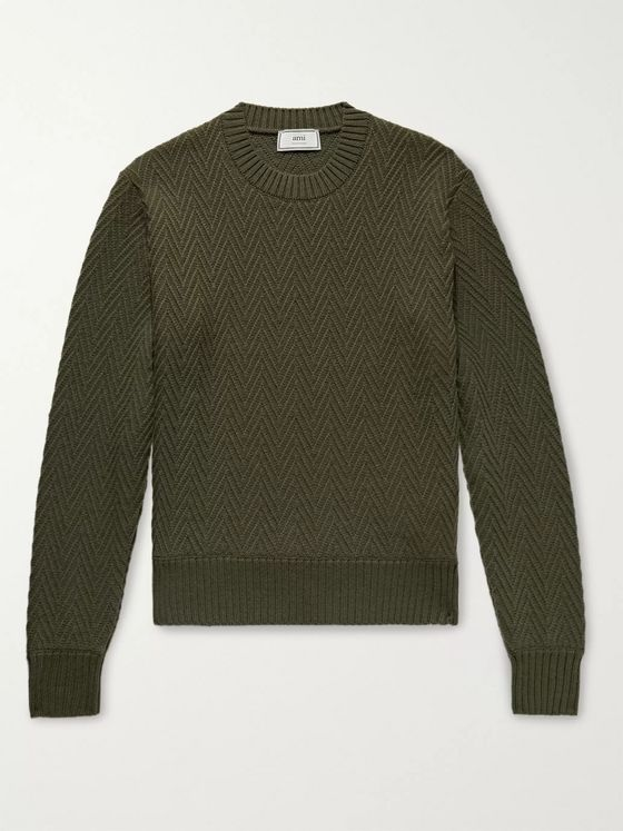 AMI Slim-Fit Herringbone Wool Sweater