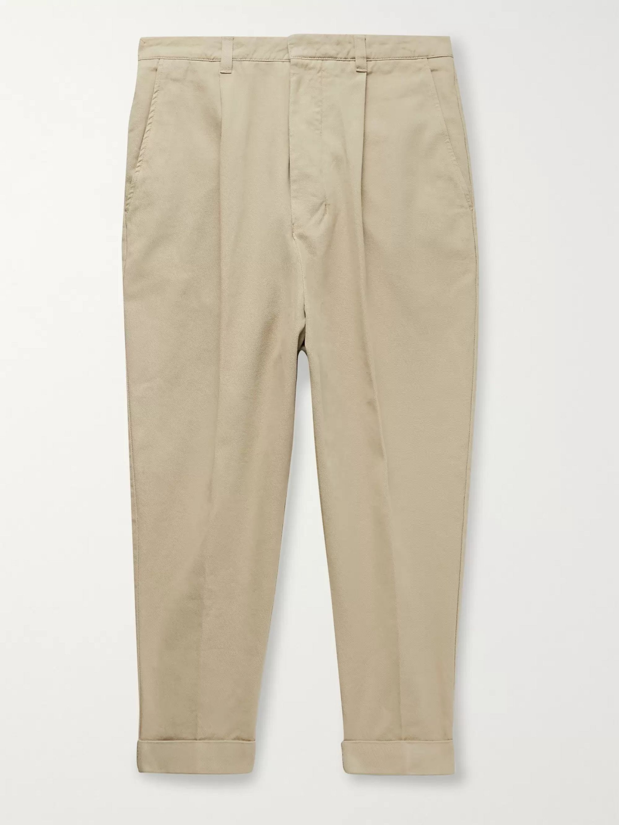 AMI Pleated Cotton-Gabardine Chinos