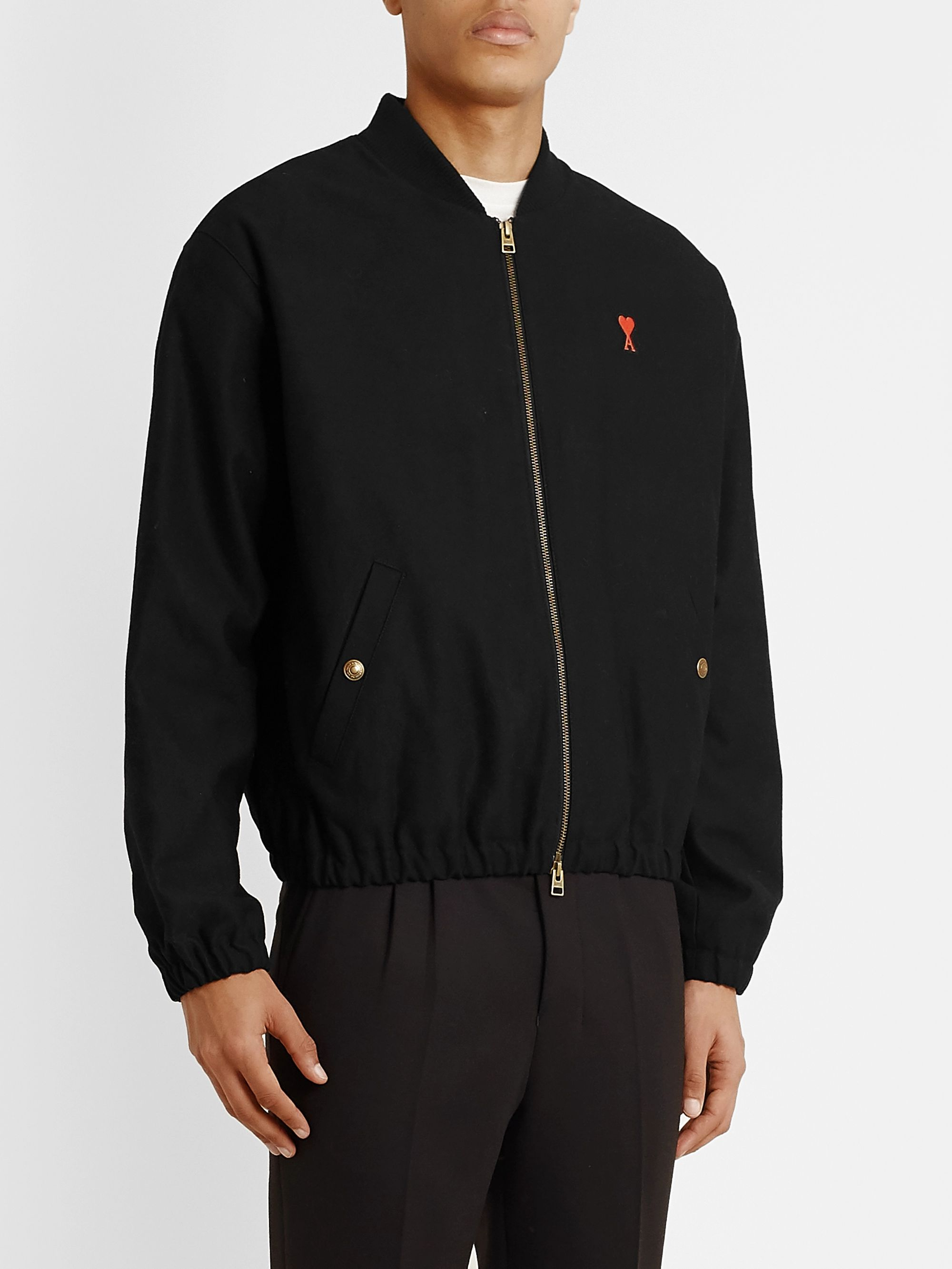 AMI Slim-Fit Logo-Appliquéd Cotton-Blend Bomber Jacket