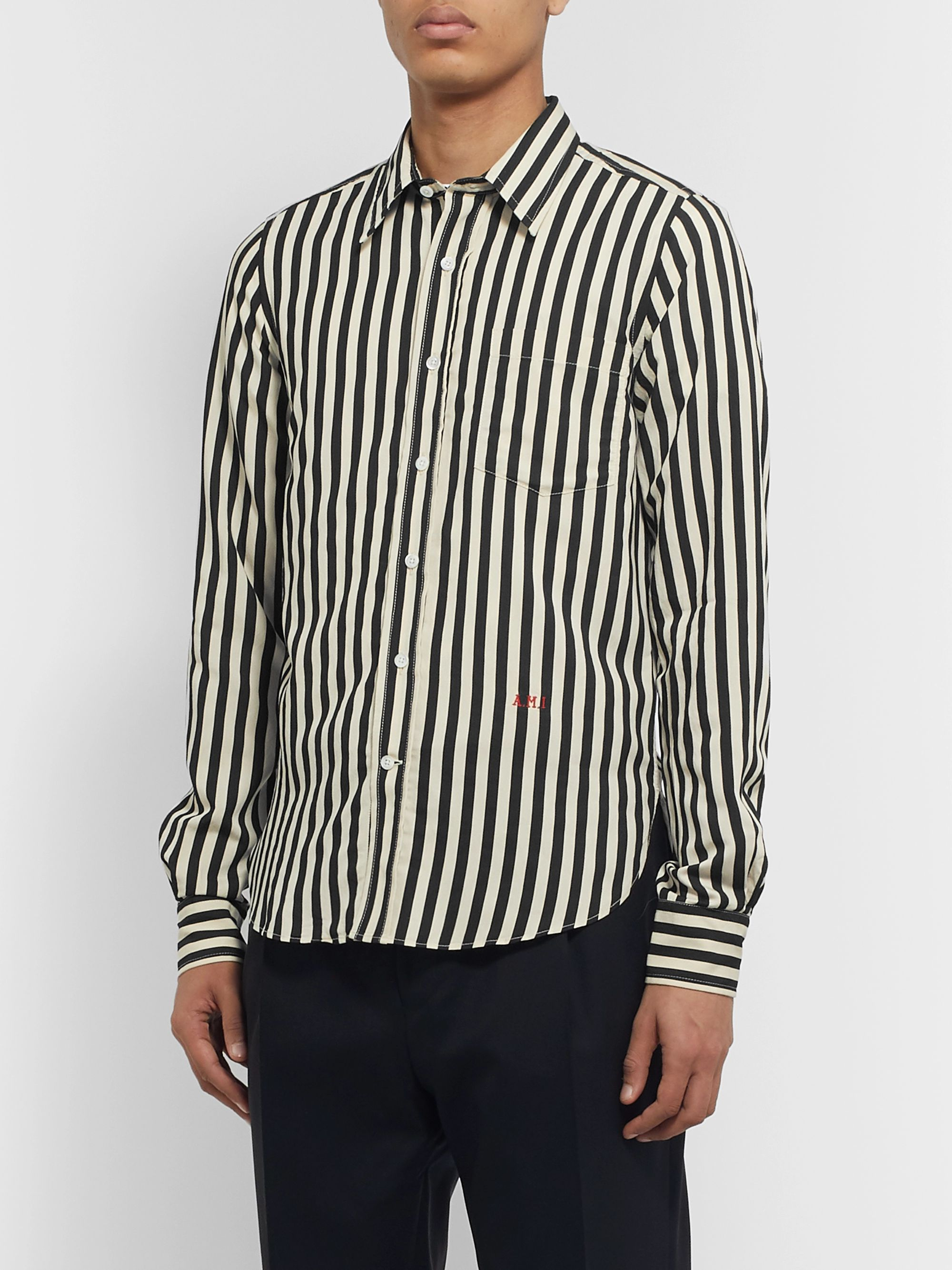 AMI Slim-Fit Logo-Embroidered Striped Voile Shirt