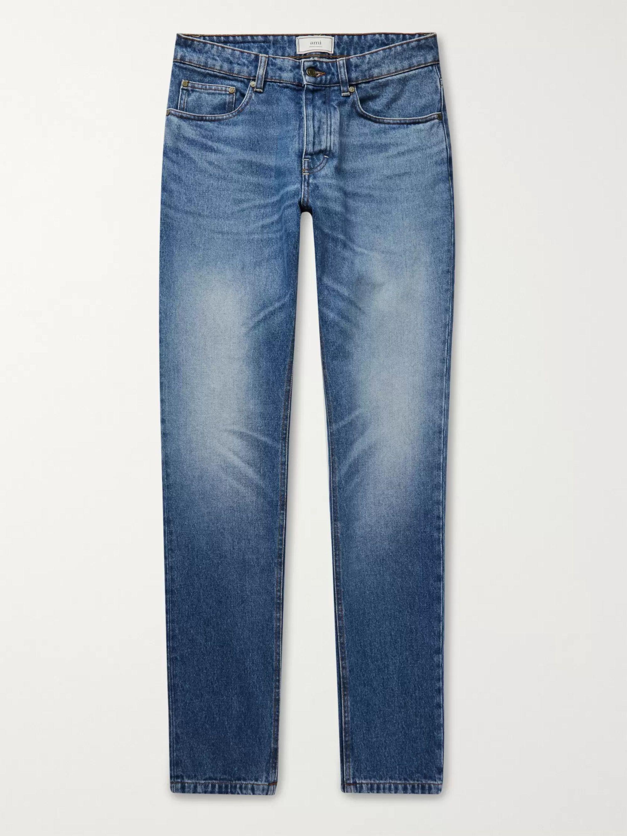 AMI Mid denim Slim-Fit Denim Jeans,Mid denim