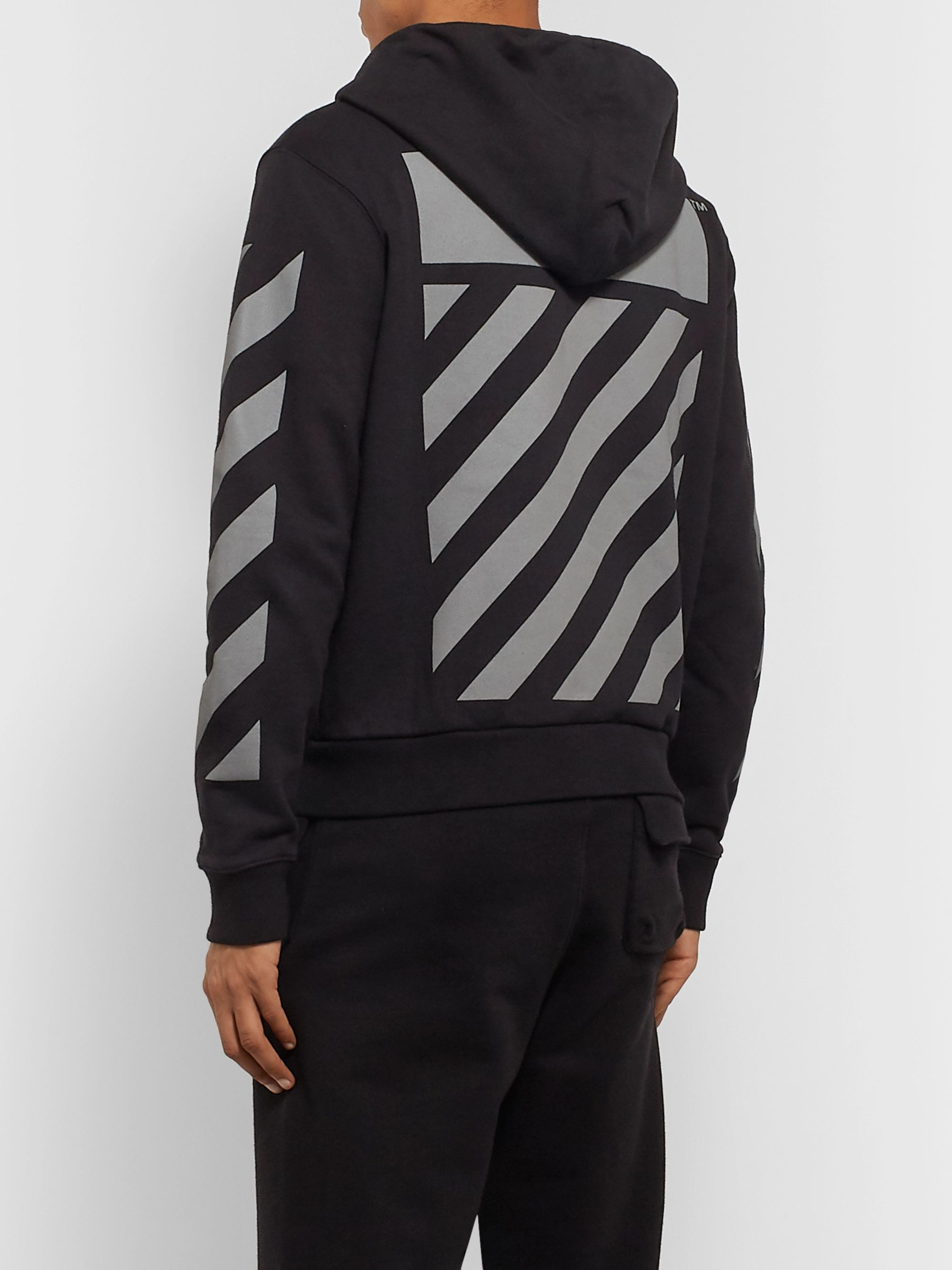 Off-White Glow-In-The-Dark Printed Loopback Cotton-Jersey Hoodie