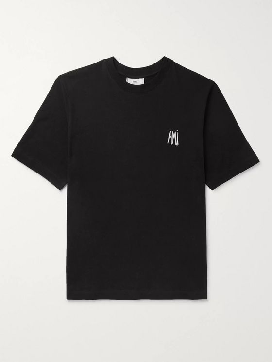 AMI Logo-Embroidered Cotton-Jersey T-Shirt