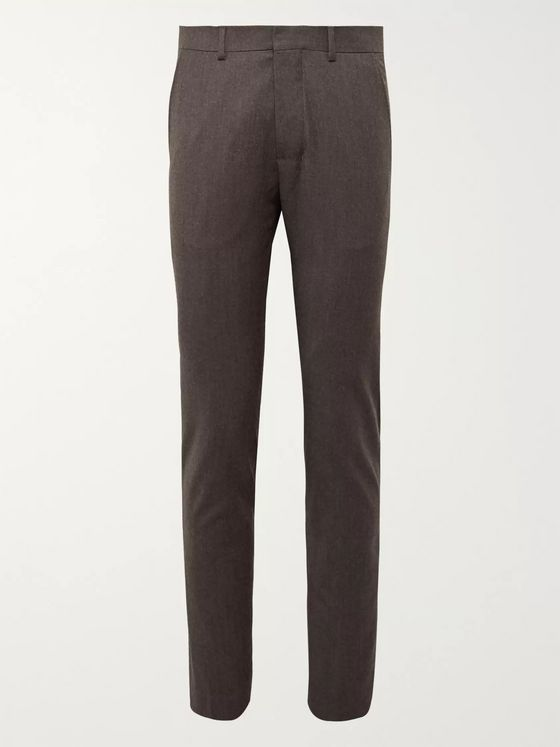 AMI Dark-Brown Slim-Fit Mélange Virgin Wool Suit Trousers