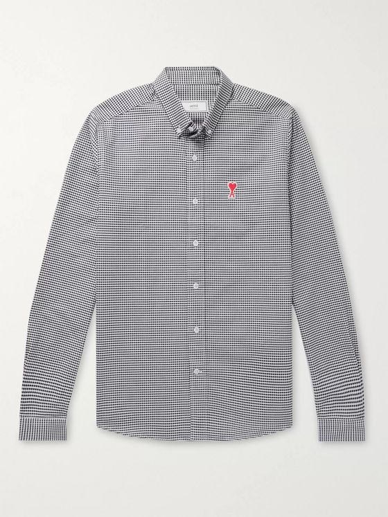 AMI Button-Down Collar Logo-Appliquéd Gingham Cotton Shirt