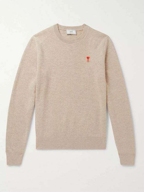 AMI Logo-Appliquéd Merino Wool Sweater