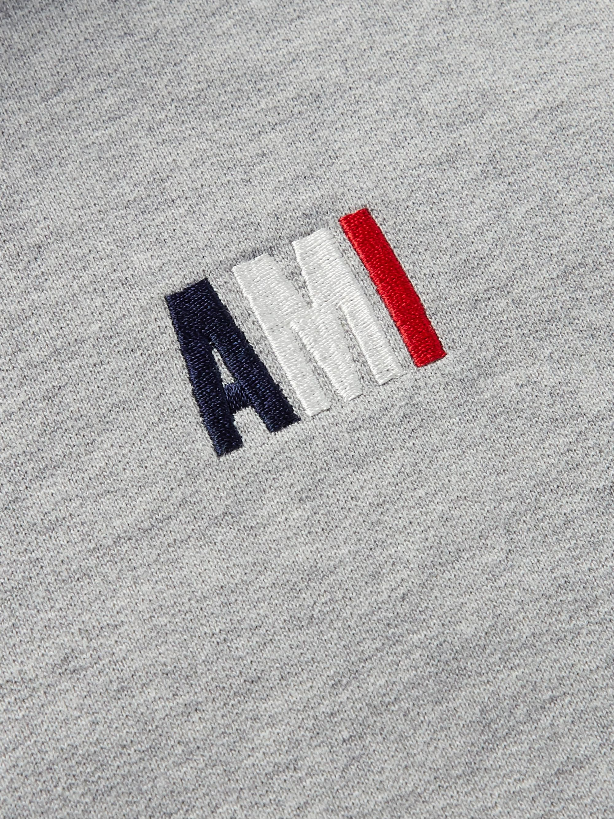 AMI Slim-Fit Logo-Embroidered Mélange Loopback Cotton-Jersey Hoodie