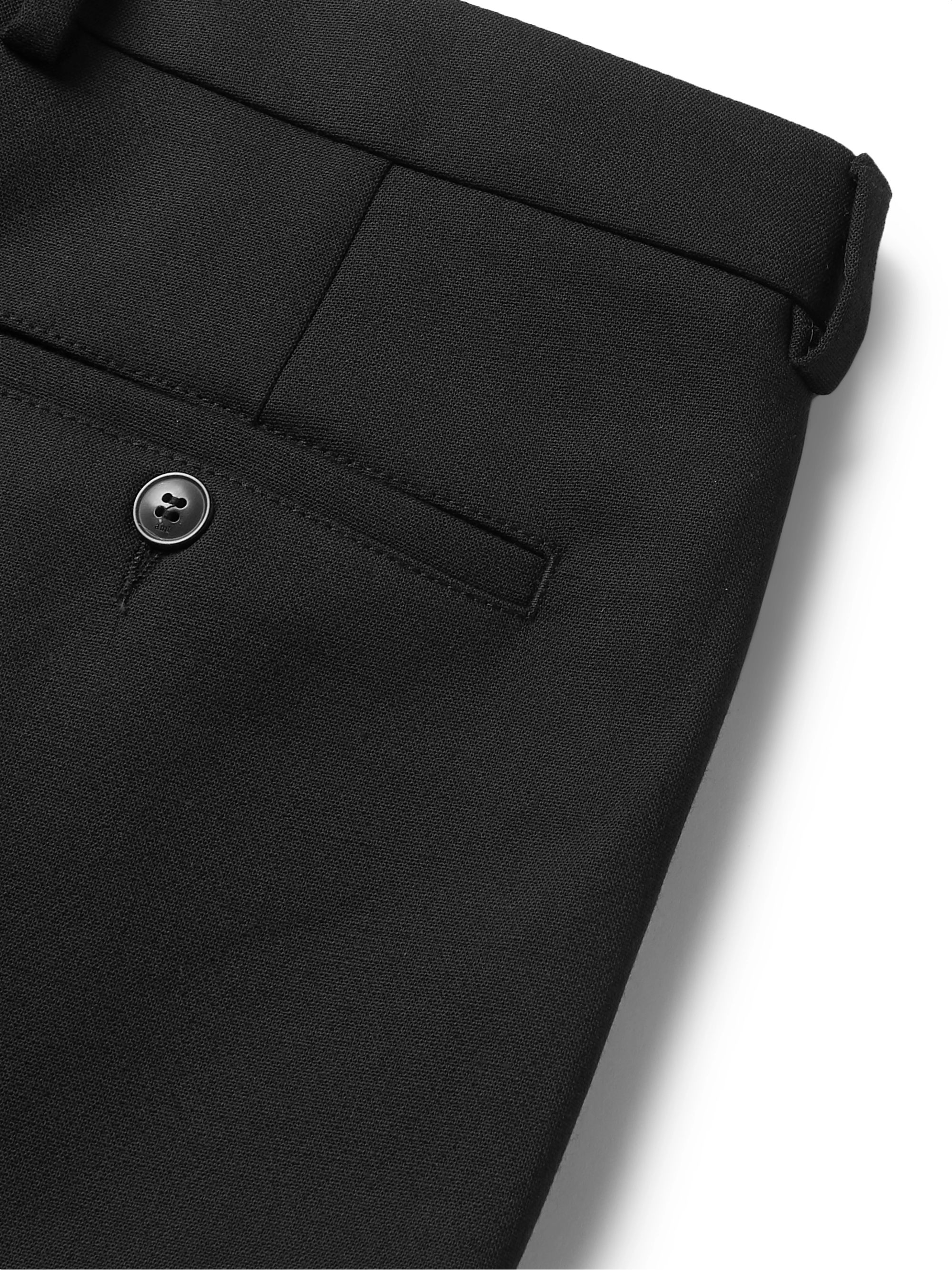 AMI Black Cropped Tapered Pleated Flannel Trousers