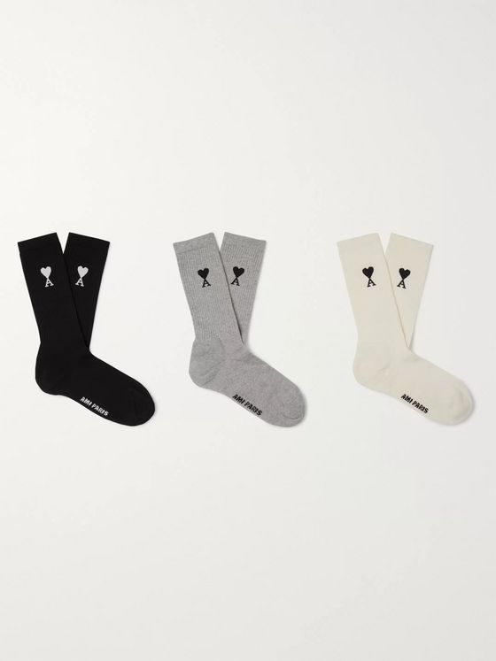 AMI Three-Pack Logo-Intarsia Cotton-Blend Socks
