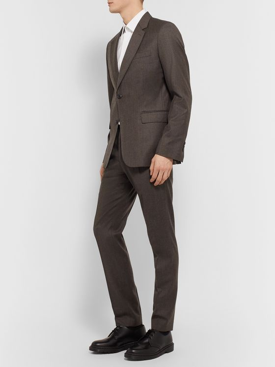 AMI Dark-Brown Slim-Fit Mélange Virgin Wool Suit Jacket