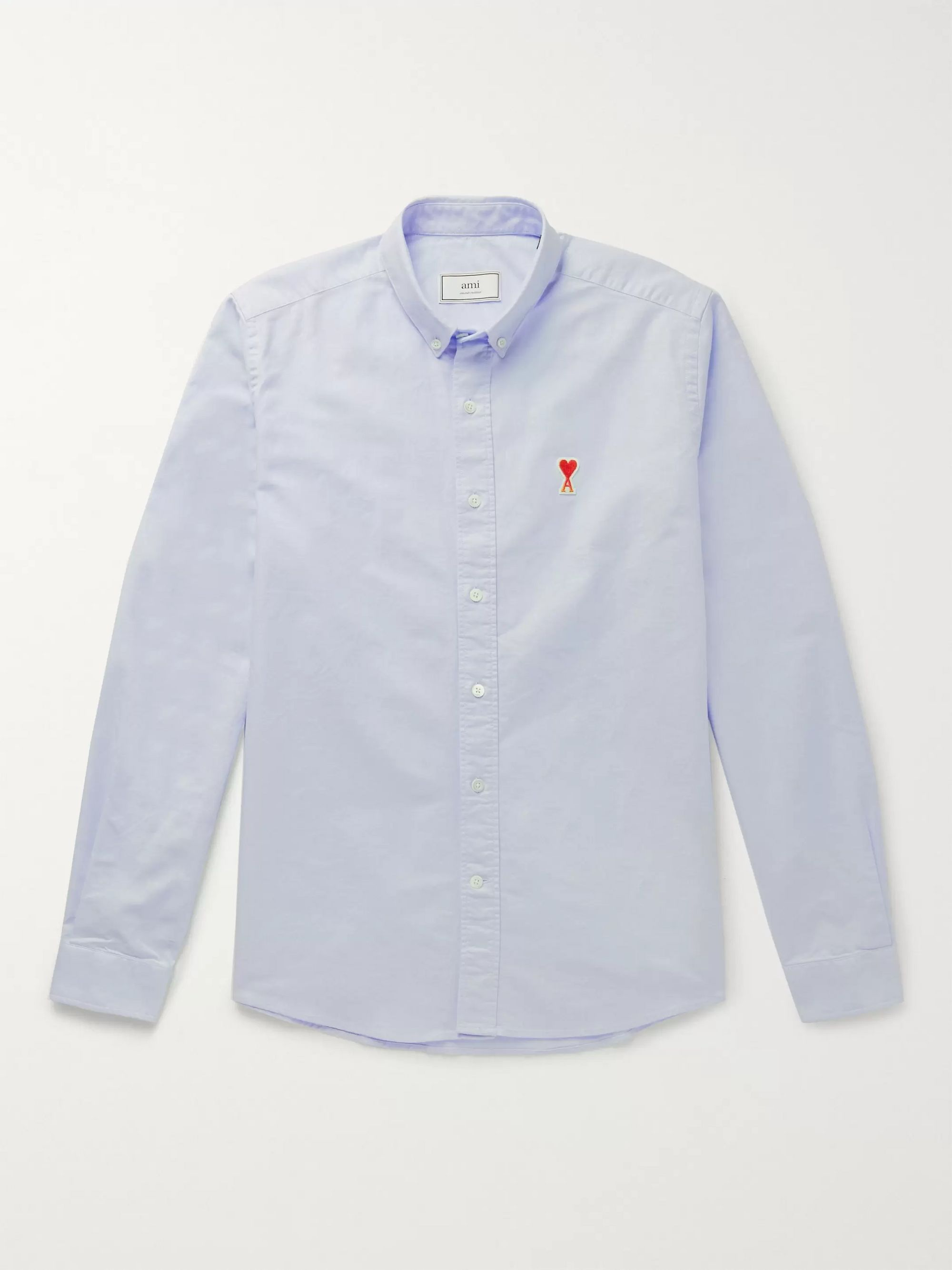 AMI Button-Down Collar Logo-Appliquéd Cotton Oxford Shirt