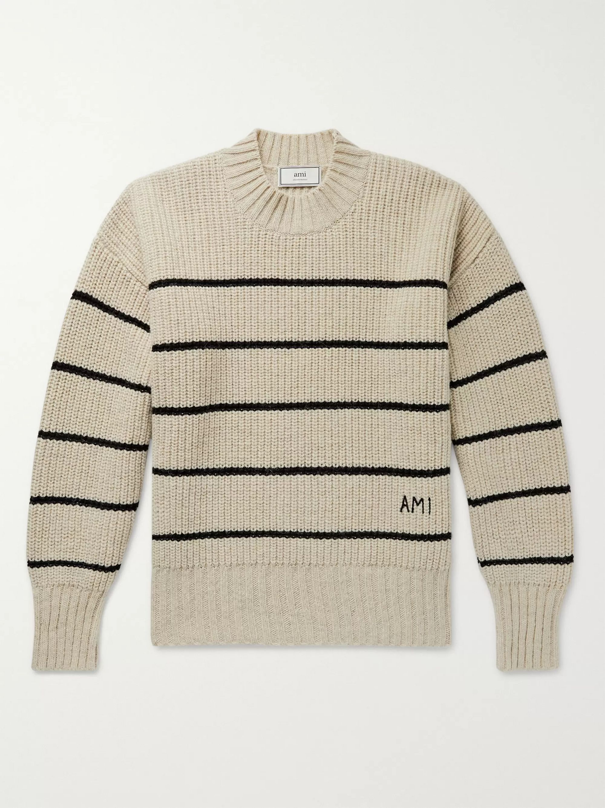 AMI Beige Oversized Logo-Embroidered Striped Virgin Wool Sweater,Beige