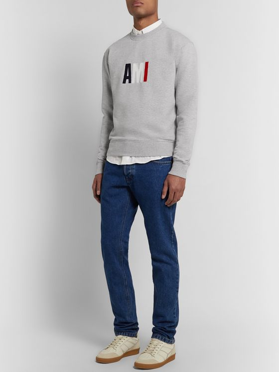 AMI Slim-Fit Logo-Embroidered Loopback Cotton-Jersey Sweatshirt