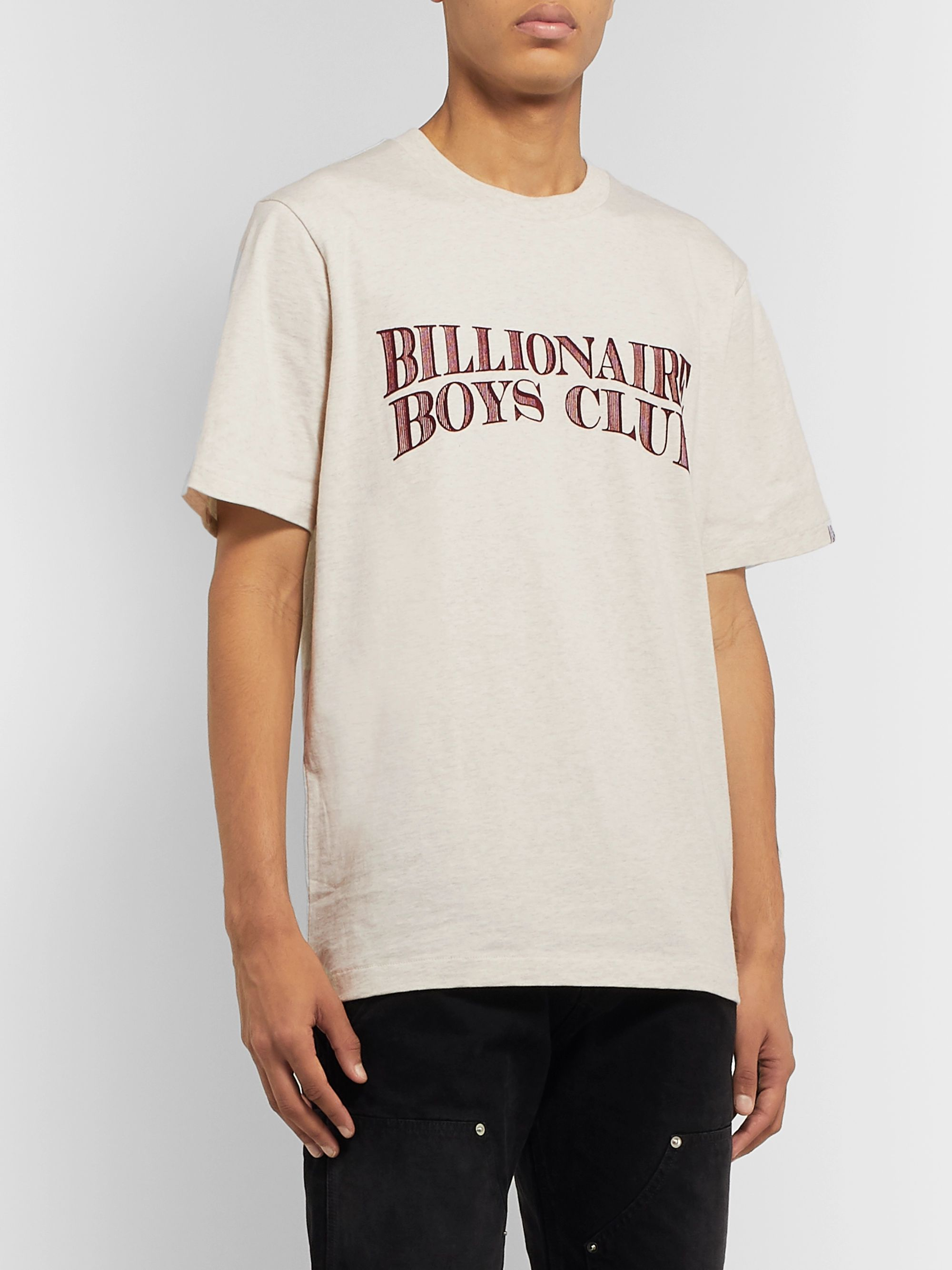 Billionaire Boys Club Logo-Flocked Mélange Cotton-Jersey T-Shirt