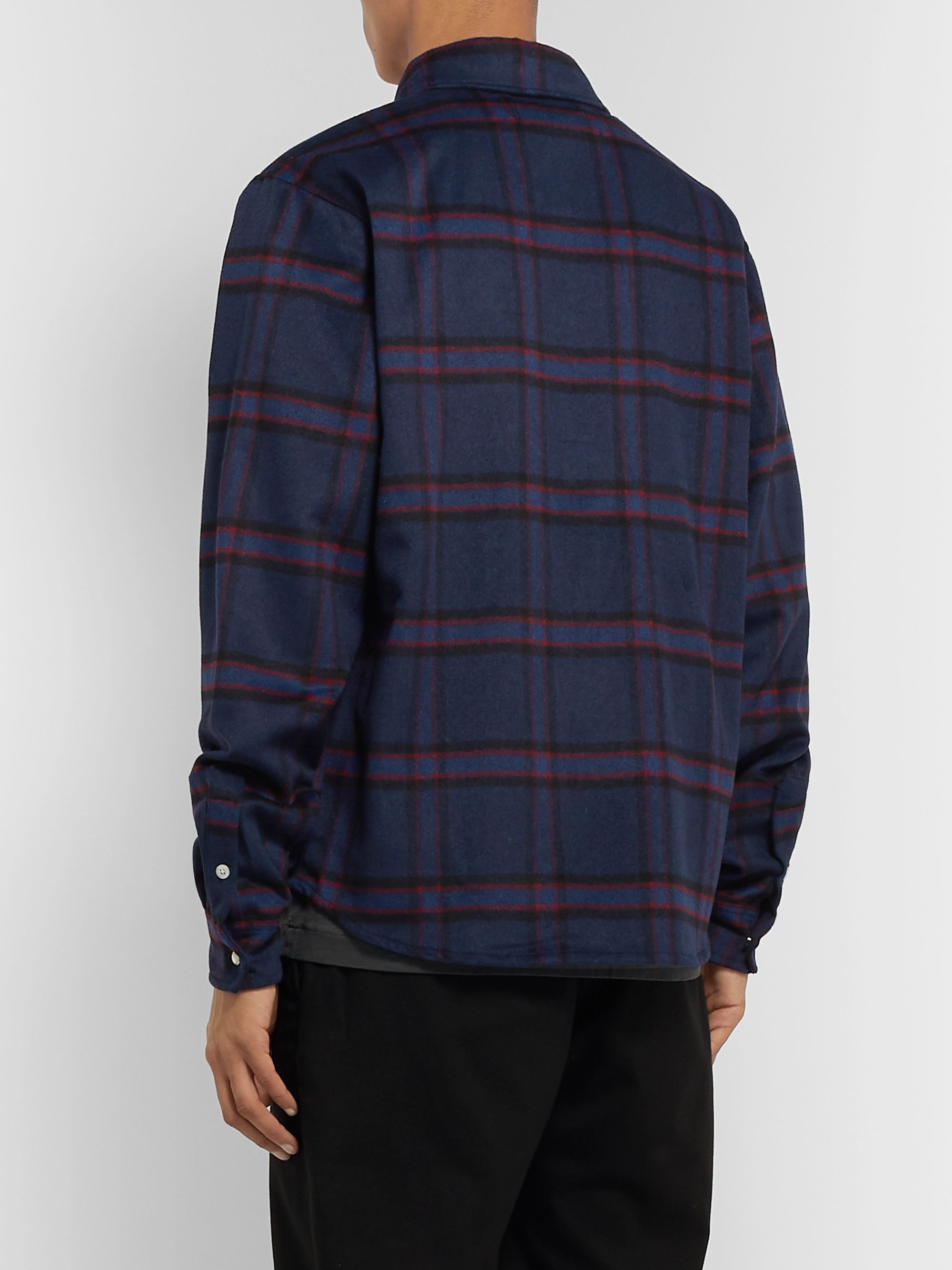 Billionaire Boys Club Button-Down Collar Logo-Appliquéd Checked Wool-Blend Flannel Overshirt