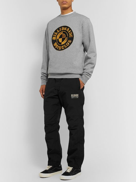 Billionaire Boys Club Logo-Embellished Mélange Loopback Cotton-Jersey Sweatshirt