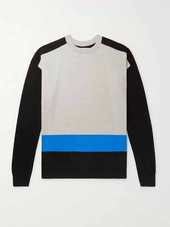 Aloye Colour-Block Cotton Sweater