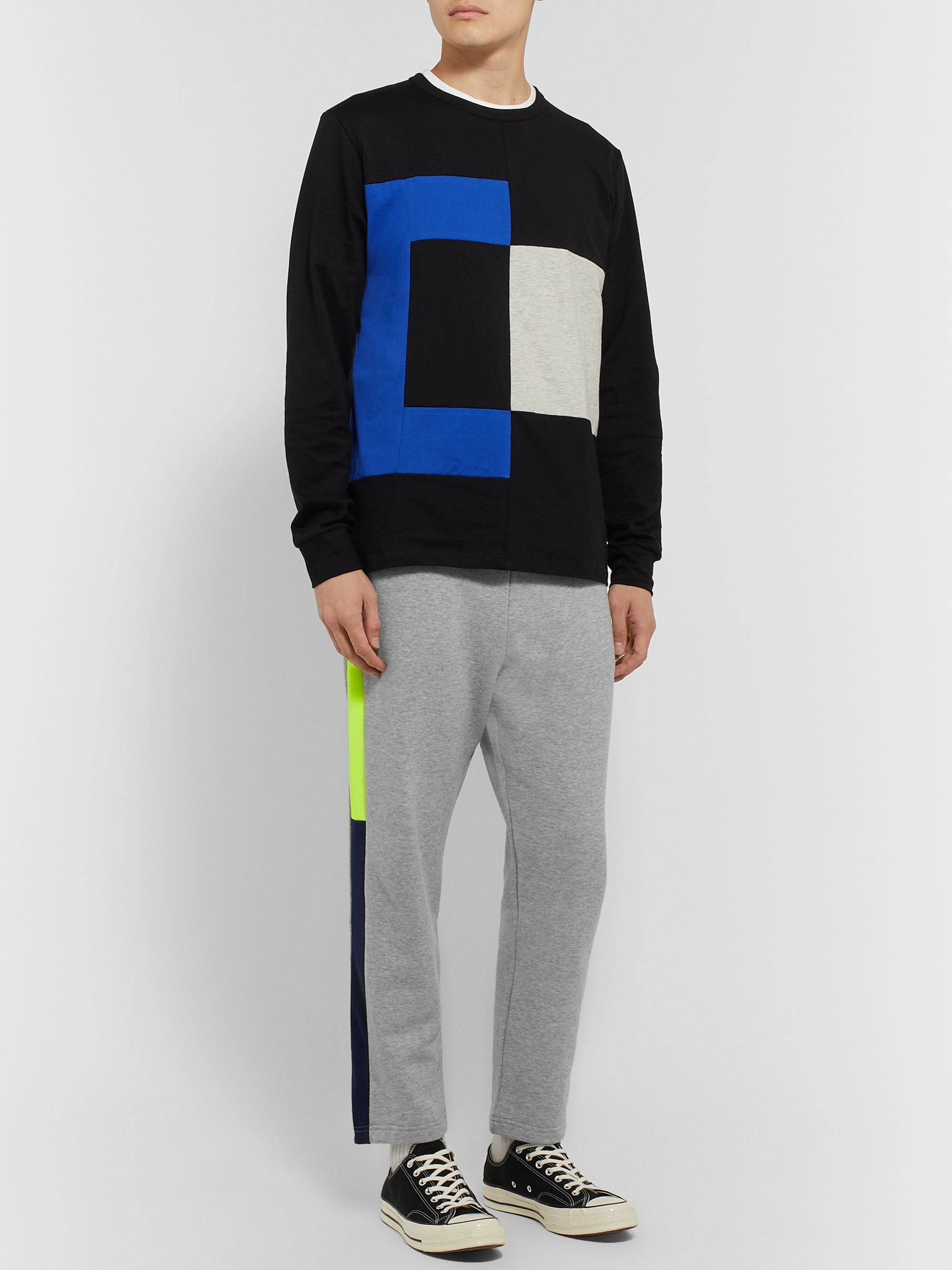 Aloye Tapered Colour-Block Mélange Loopback Cotton-Jersey Sweatpants