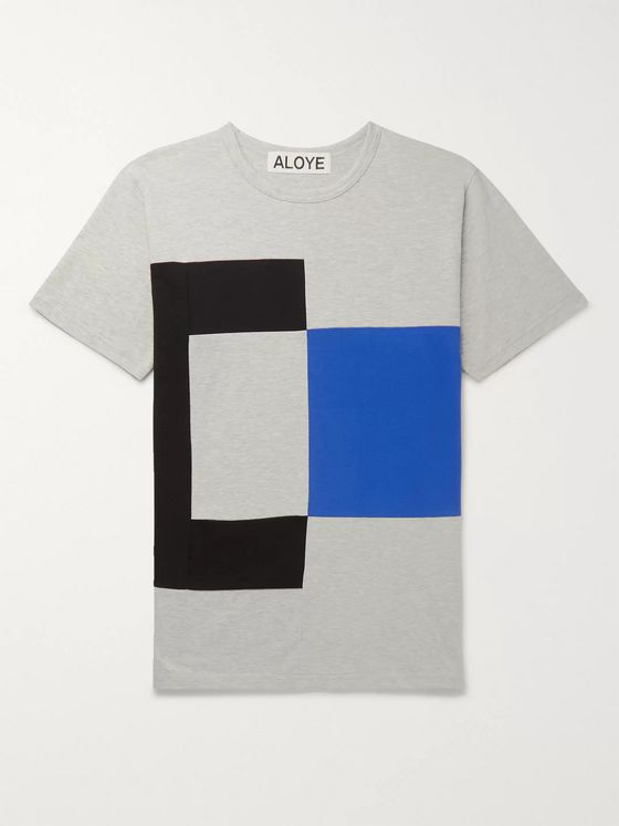 Aloye Colour-Block Mélange Cotton-Jersey T-Shirt