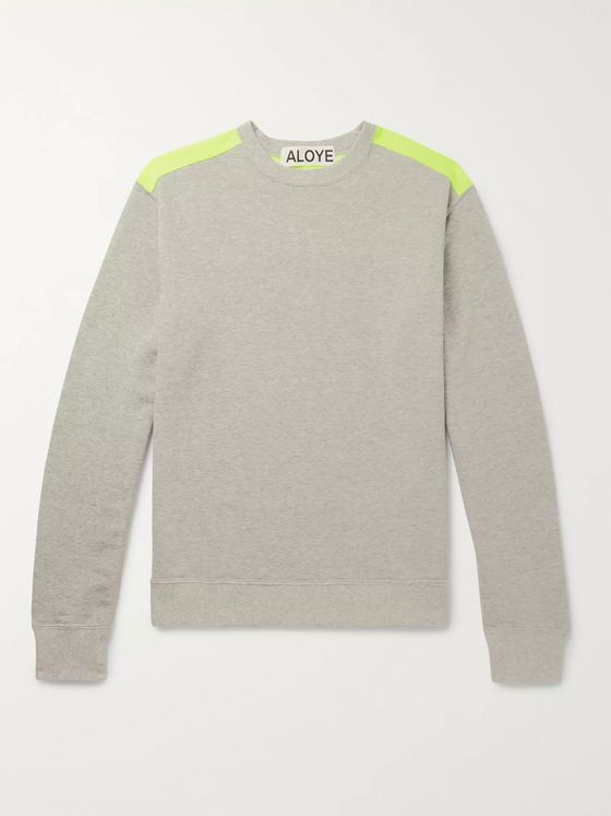Aloye Colour-Block Mélange Neon Loopback Cotton-Jersey Sweatshirt