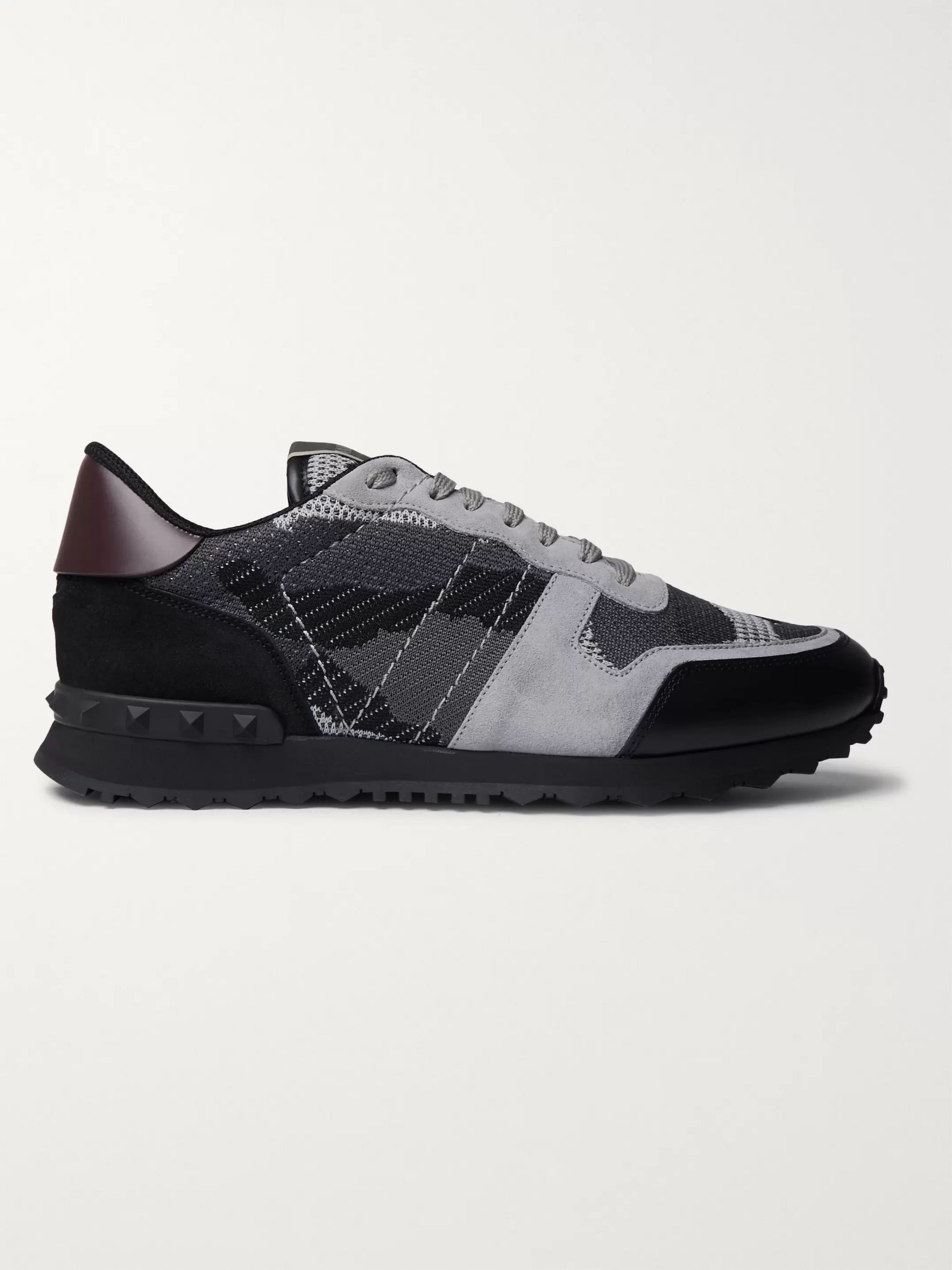 Valentino Valentino Garavani Rockrunner Camouflage-Print Stretch-Knit, Leather and Suede Sneakers