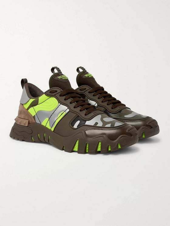 Valentino Valentino Garavani Rockrunner Plus Rubber, Suede and Canvas Sneakers