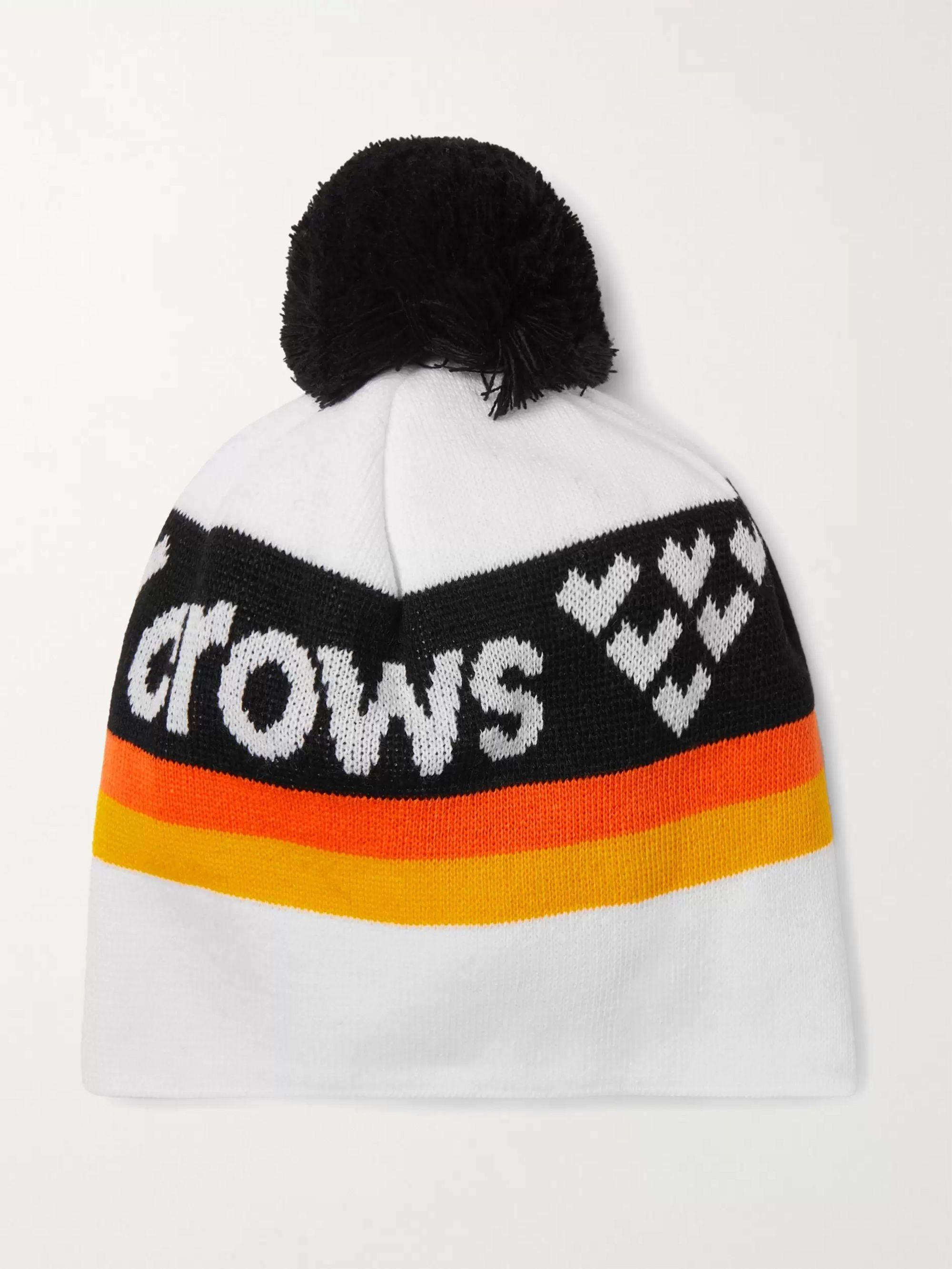 White Nomen Logo-intarsia Knitted Beanie | Black Crows