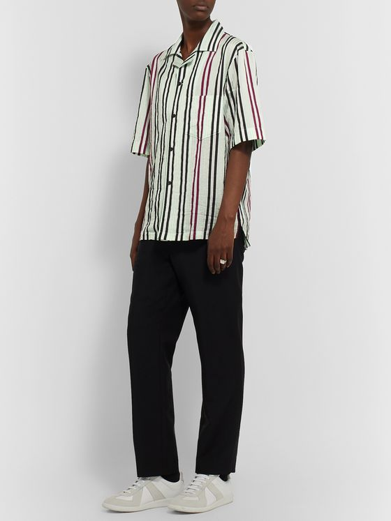 Acne Studios Camp-Collar Metallic Striped Cotton-Blend Shirt