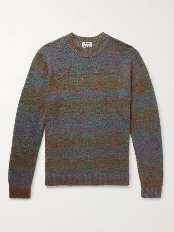 Acne Studios Space-Dyed Striped Brushed Knitted Sweater