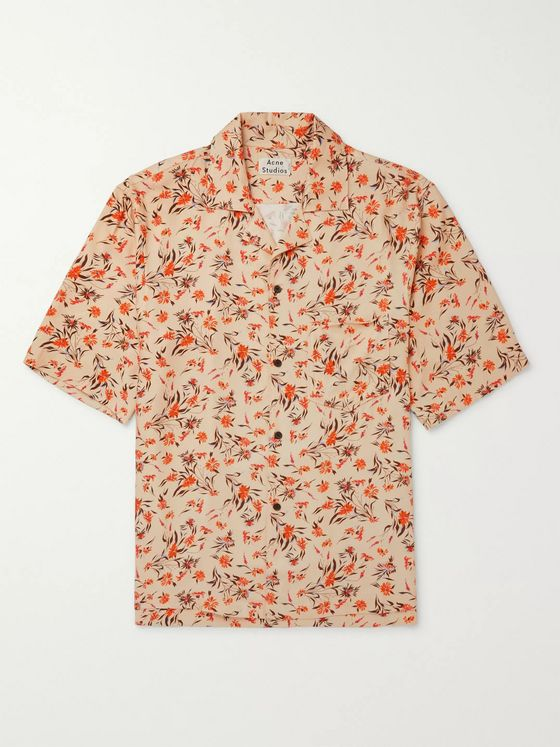 Acne Studios Camp-Collar Floral-Print Twill Shirt