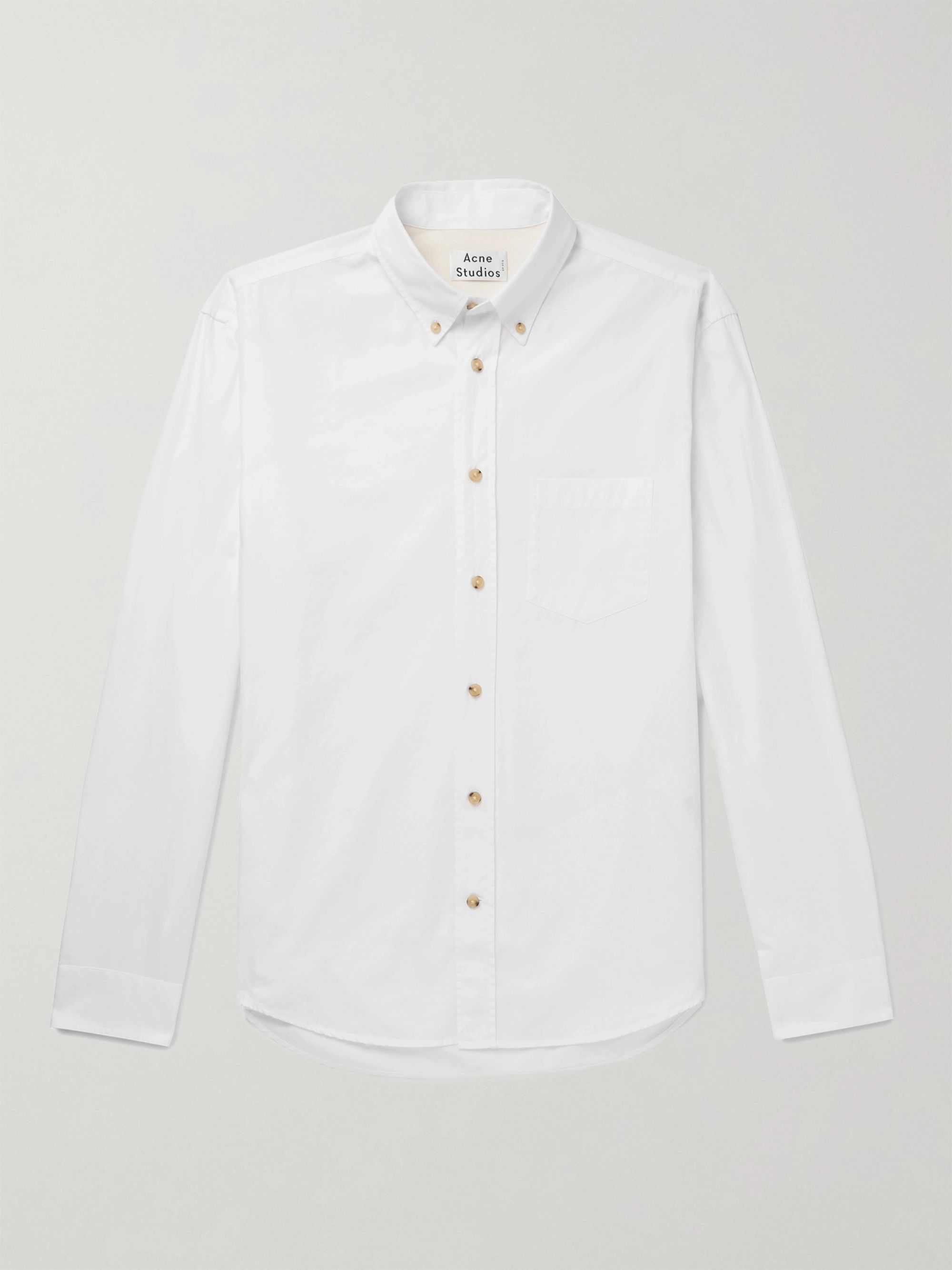 아크네 스튜디오 Acne Studios Button-Down Collar Cotton-Poplin Shirt,White