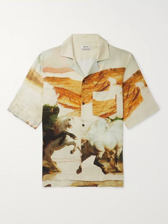 Acne Studios Camp-Collar Printed Twill Shirt