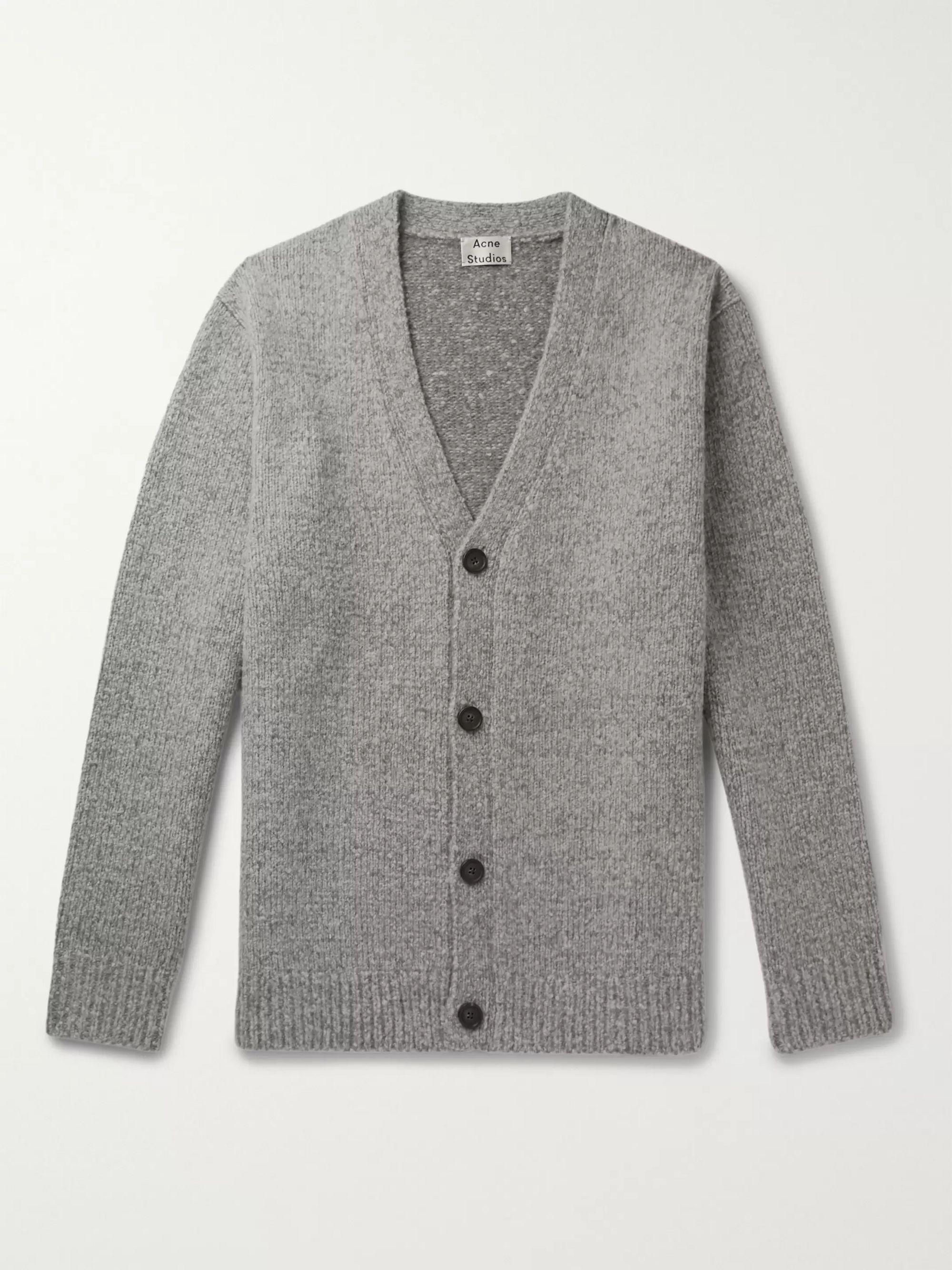 아크네 스튜디오 Acne Studios Gray Ribbed Melange Wool-Blend Cardigan,Gray