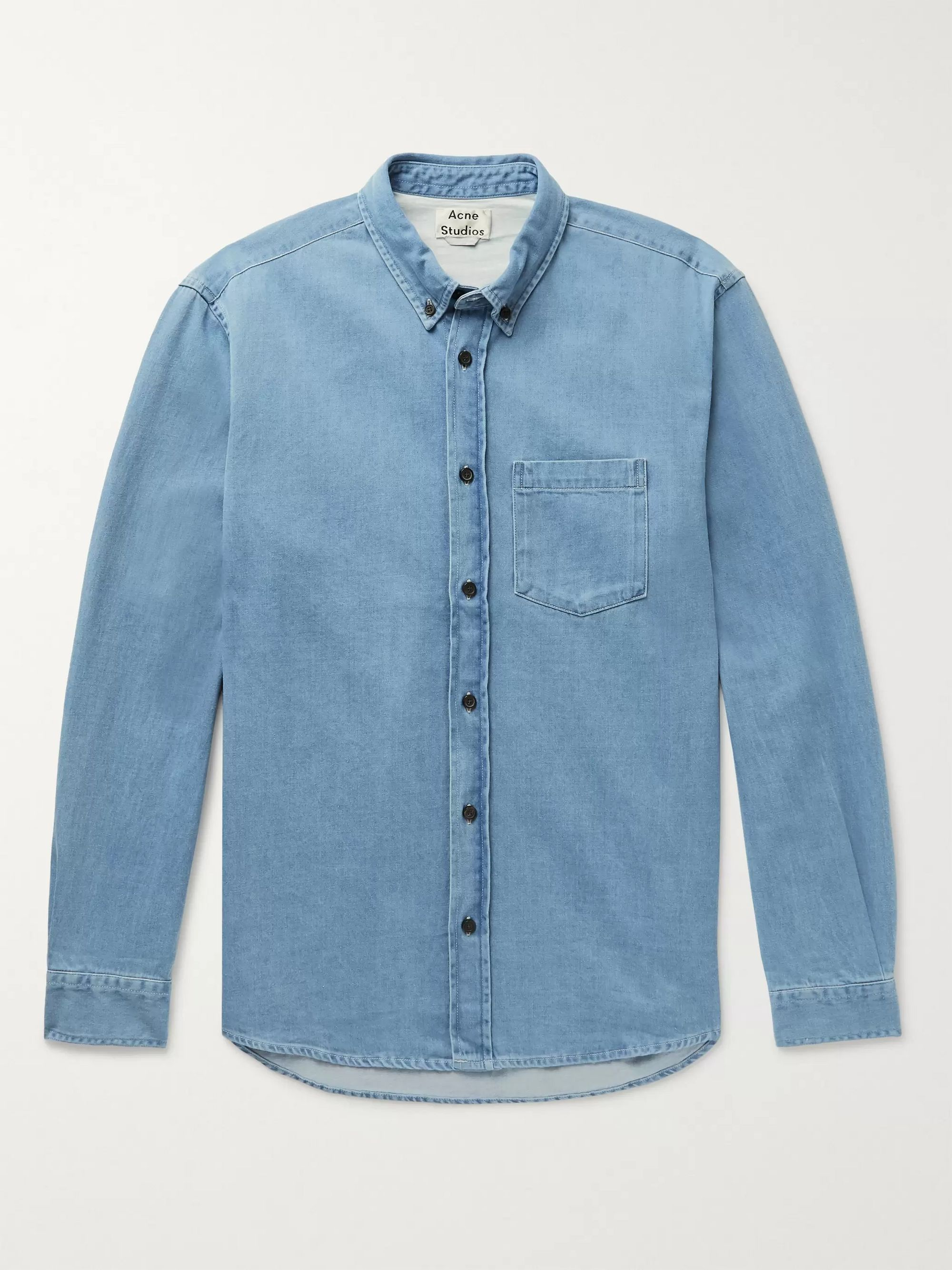 아크네 스튜디오 Acne Studios Slim-Fit Button-Down Collar Denim Shirt,Light blue
