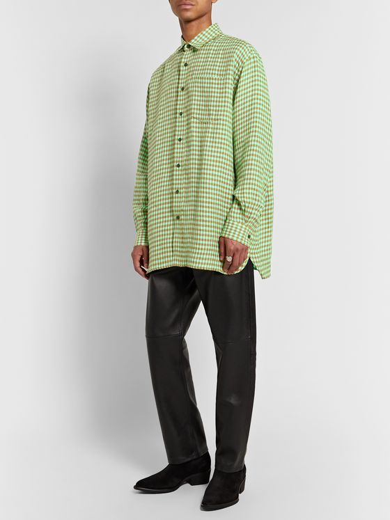 ACNE STUDIOS Oversized Gingham Linen Shirt