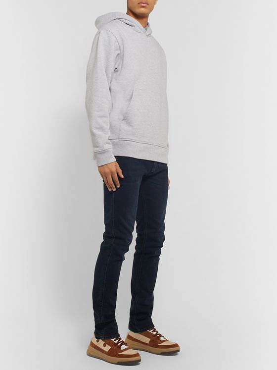 ACNE STUDIOS Logo-Appliquéd Mélange Fleece-Back Cotton-Blend Jersey Hoodie