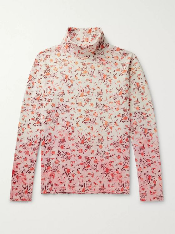 Acne Studios Floral-Print Dégradé Cotton Rollneck T-Shirt