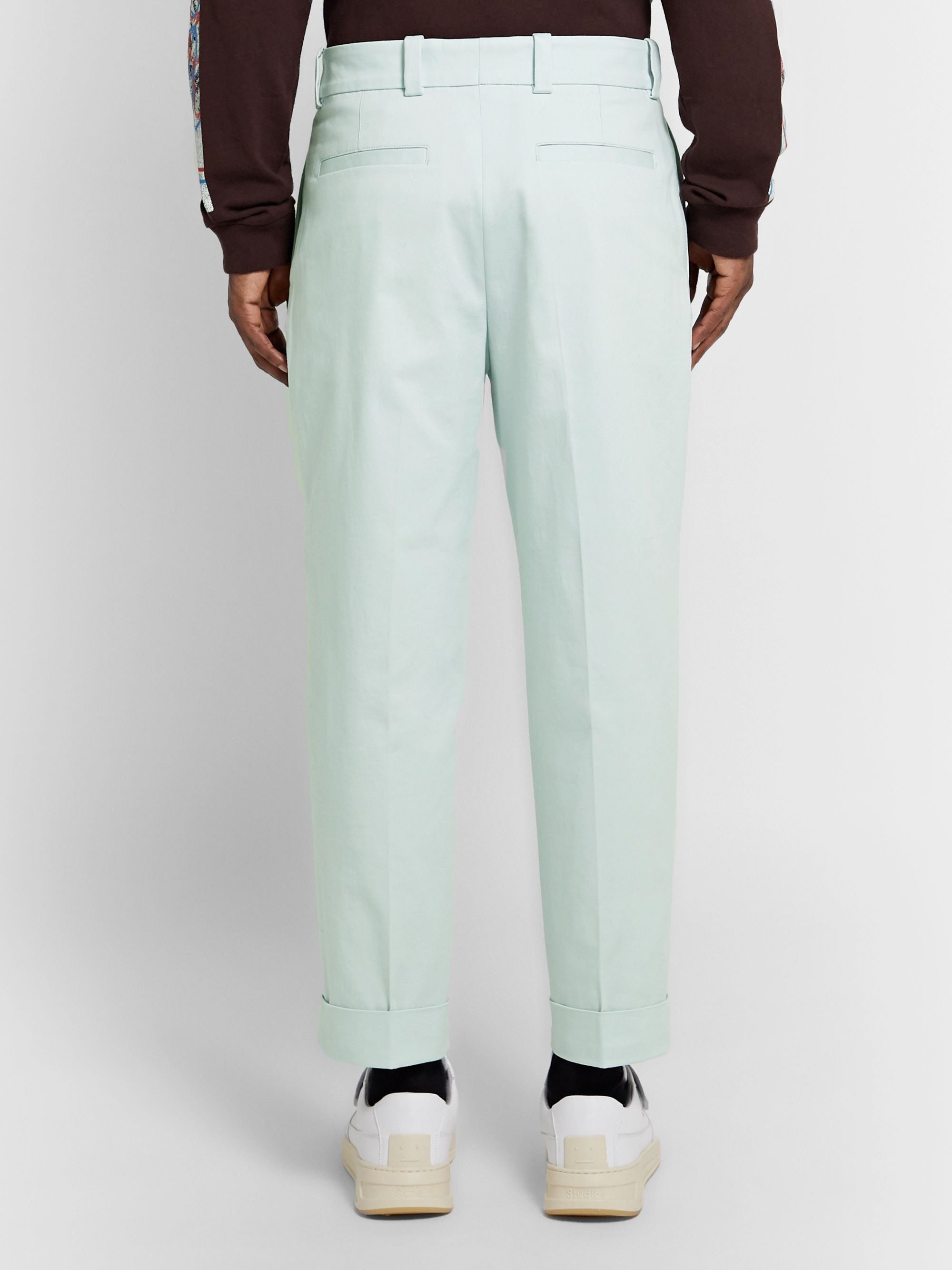 Acne Studios Pierre Cropped Tapered Pleated Stretch-Cotton Trousers