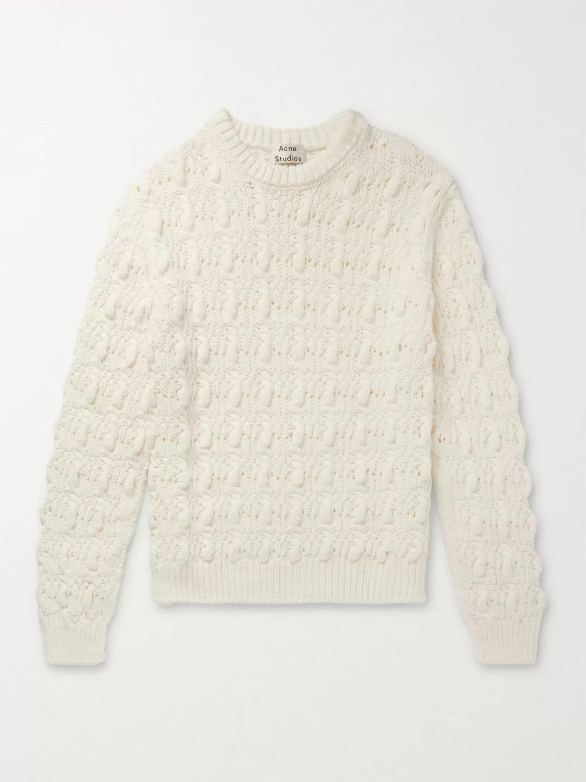 아크네 스튜디오 Acne Studios Beige Cable-Knit Cotton-Blend Sweater,Beige