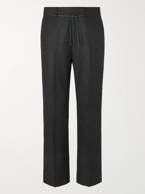 Acne Studios Cropped Flared Brushed Wool-Twill Trousers