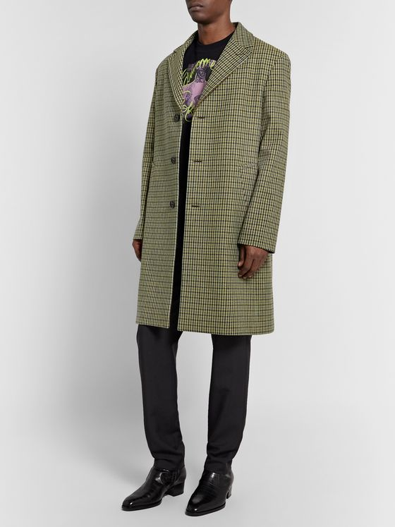 Acne Studios Houndstooth Wool-Blend Tweed Overcoat