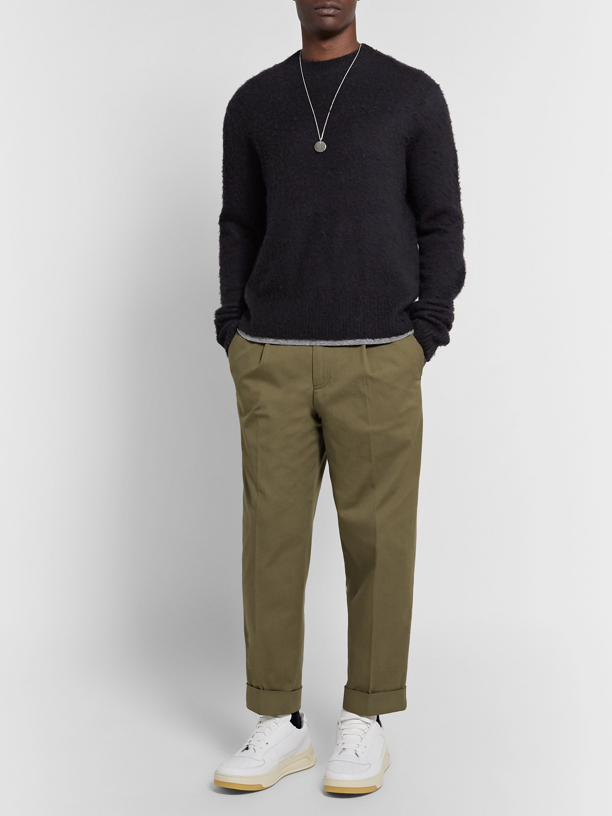 ACNE STUDIOS Cropped Tapered Pleated Stretch-Cotton Trousers