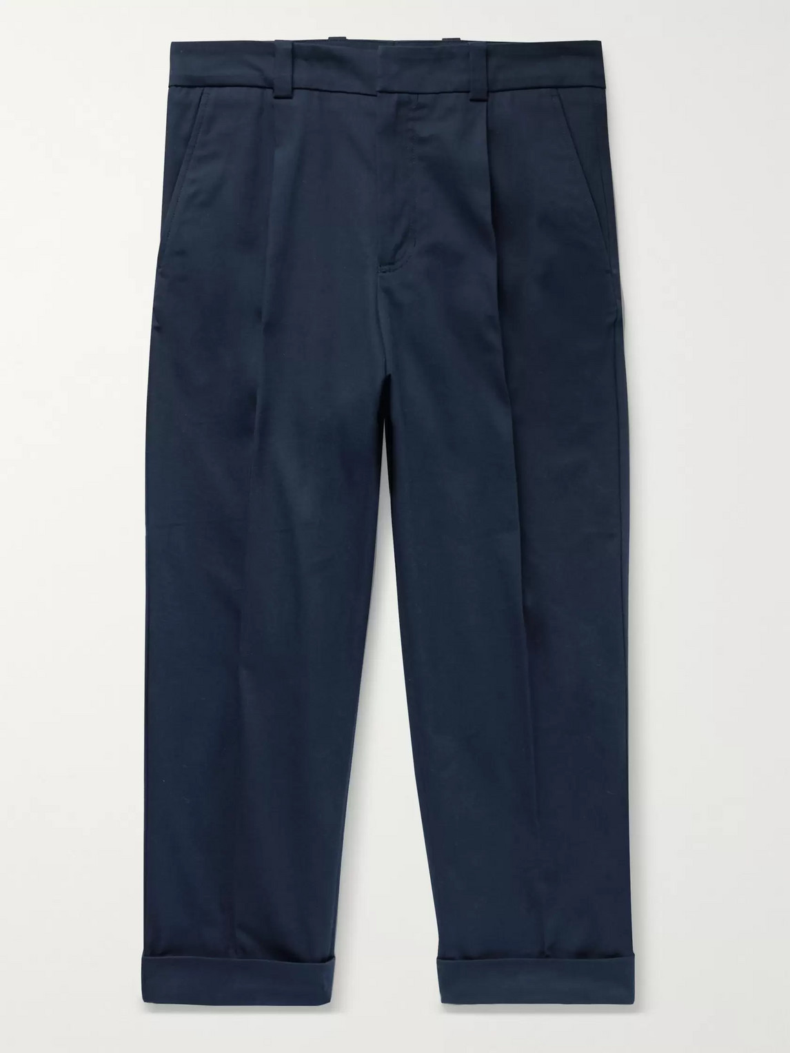 acne studios - pierre cropped tapered pleated stretch-cotton trousers - men - blue