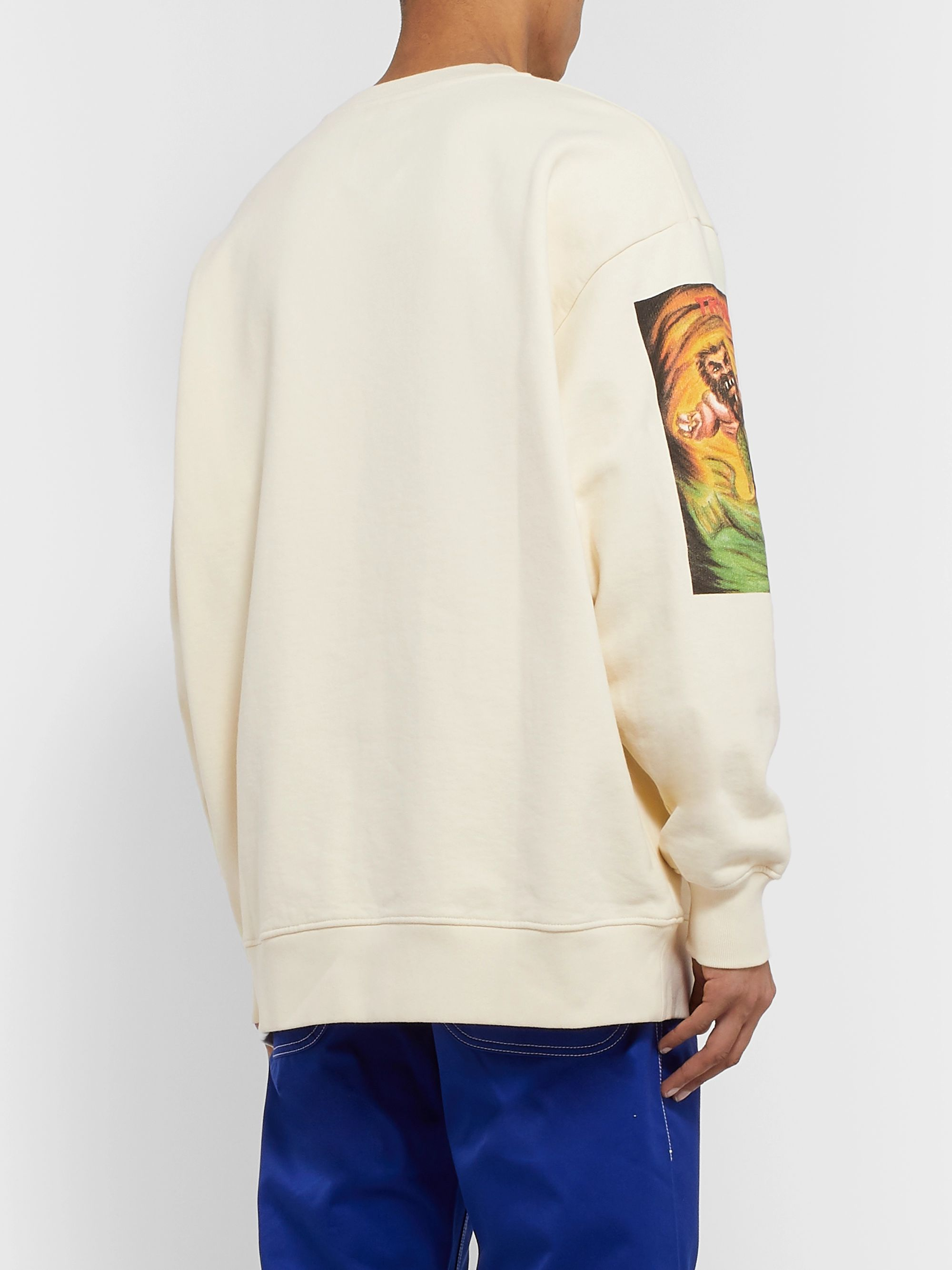 Acne Studios + Monster in My Pocket Forban Printed Fleece-Back Cotton-Jersey Sweatshirt