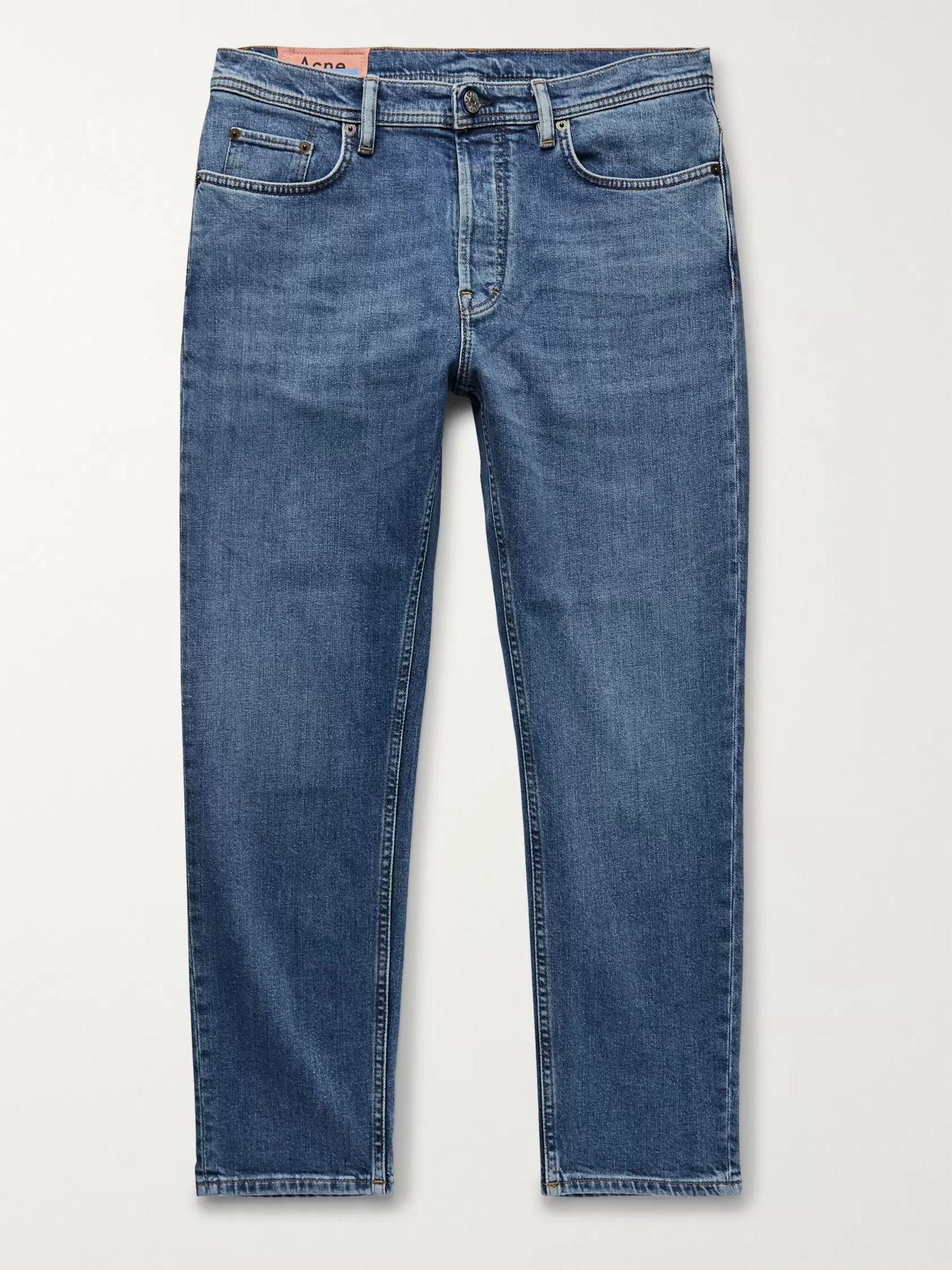 아크네 스튜디오 Acne Studios Blue Slim-Fit Tapered Stretch-Denim Jeans,Blue