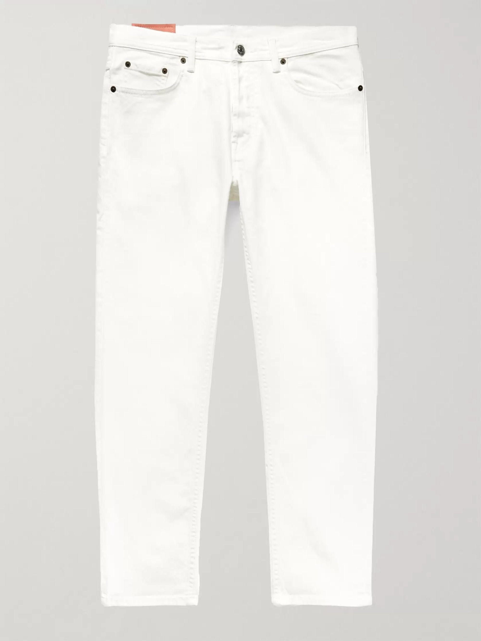 아크네 스튜디오 Acne Studios White Slim-Fit Tapered Stretch-Denim Jeans,White