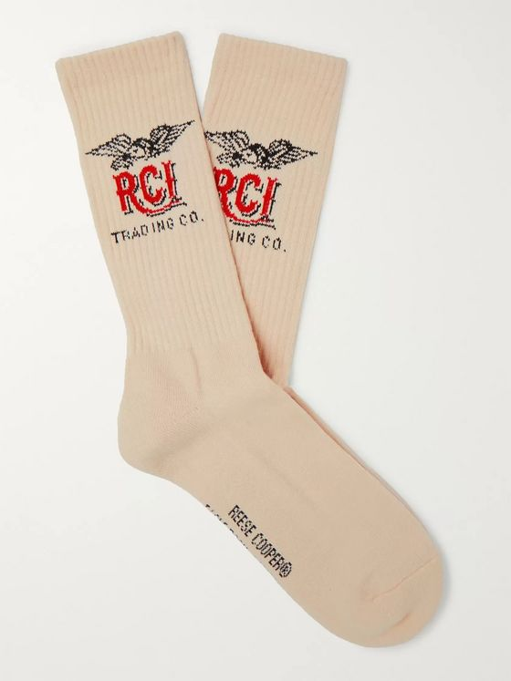 Reese Cooper® Logo-Intarsia Ribbed Cotton Socks