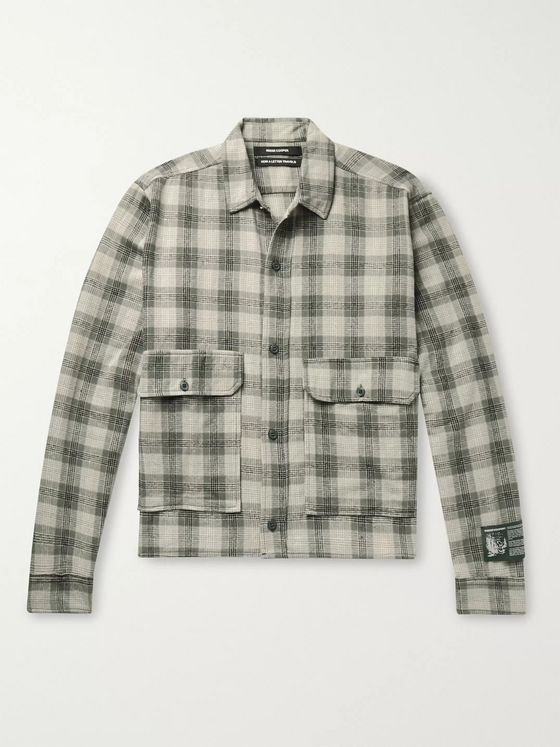 Reese Cooper® Cropped Checked Cotton-Flannel Shirt