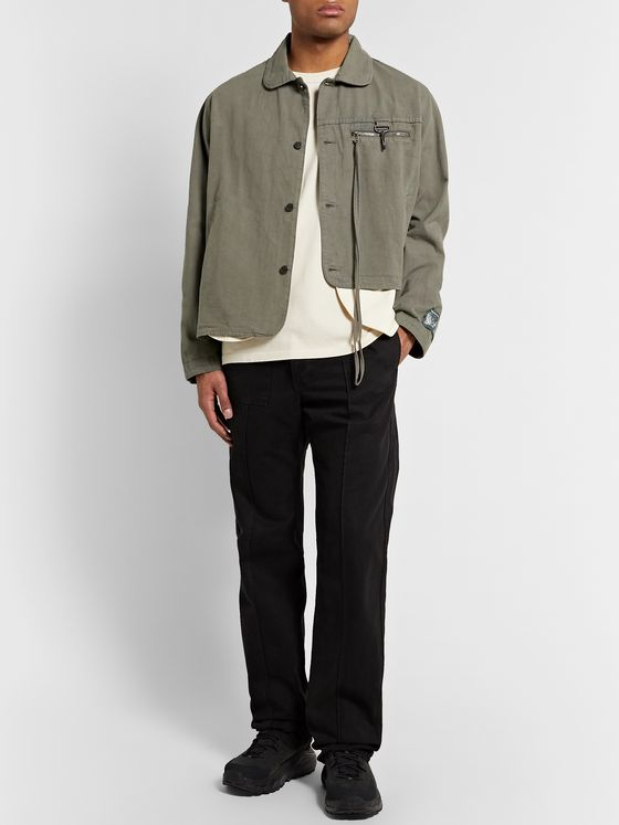Reese Cooper® Penny-Collar Asymmetric Linen and Cotton-Blend Jacket